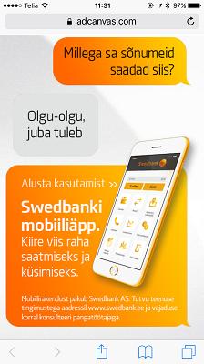 Swedbank Mobile bank screen