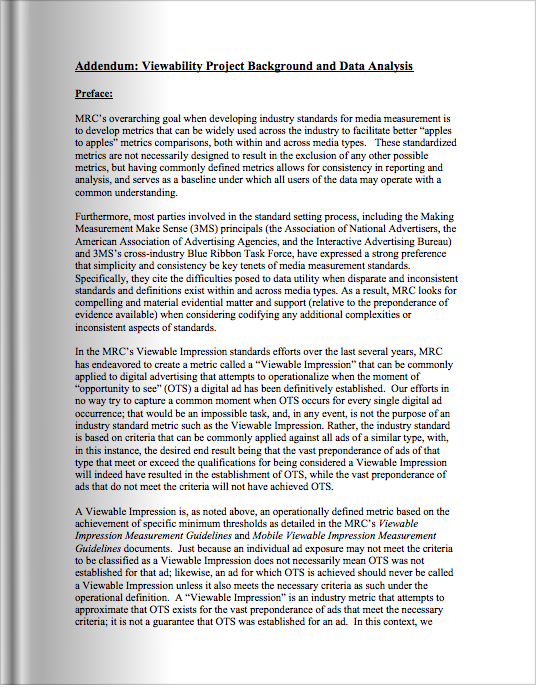 Viewability Project Background and Data Analysis Addendum