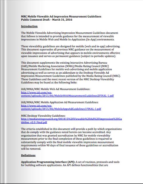 Mobile Viewable Impression Measurement Guidelines for Public Comment