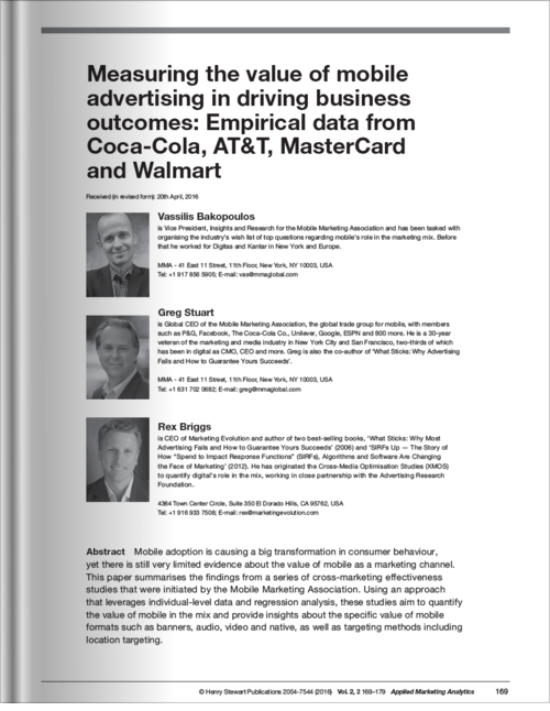 Measuring the value of mobile advertising in driving business