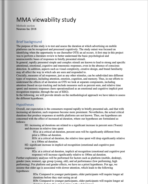 MMA Mobile Cognition Study - Methodology